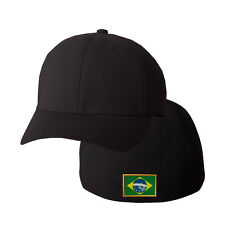 BRASIL FLAG Embroidery Embroidered Black Cotton Flexfit Hat Cap