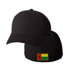 GUINAE BISSAU FLAG Embroidery Embroidered Black Cotton Flexfit Hat Cap