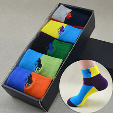 NEW 5Pairs Ankle Crew Mens Socks Cotton low cut Casual Sport Multi Color Sock