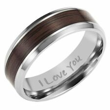 New Mens Band Ring crafted in Titanium with Wooden Insert Engraved I Love You