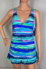 NWT Beach Diva Control Slimming Colorful Swimdress Ruched X-Back Swimsuit 8-16