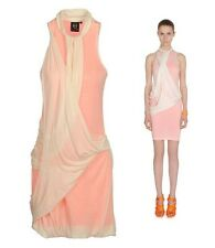 McQ ALEXANDER MCQUEEN JERSEY DRESS CROSS BODY DRAPING LIGHT CORAL sz 42 / US 6