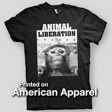 ANIMAL LIBERATION Vegan sXe EARTH CRISIS Chimp ALF AMERICAN APPAREL T-Shirt