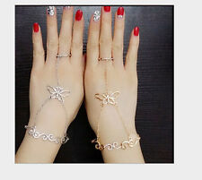 Charm Gold/Silver Plated Butterfly Chain Bangle Rhinestone Bracelet Link Ring