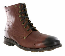CAT Caterpillar Raw Murray Brown Red Leather Mens Brogue Ankle Boots Size 6-12
