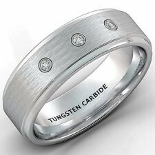 Mens Wedding Band 8mm White Tungsten Ring Brushed 3 CZ Step Edge Comfort Fit