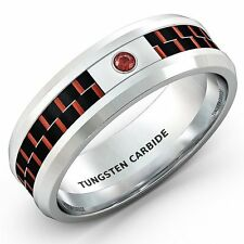 Mens Wedding Band 8mm White Tungsten Ring Red Carbon Fiber CZ Comfort Fit