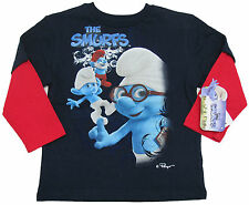 Smurfs Boys Long Sleeve T-shirt Navy Blue Mock Layer Tee Smurf Characters New