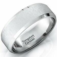 Mens Wedding Bands 8mm Tungsten Ring Rare Unique Satin Finish Beveled Edges Cen
