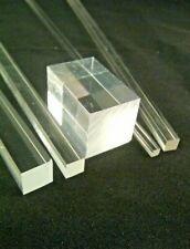 SQUARE CLEAR ACRYLIC ROD SOLID PERSPEX BAR ROD 3MM to 40MM SECTIONS