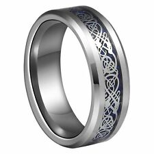 8mm Blue Silvering Celtic Dragon Tungsten Carbide Ring Mens Jewelry Wedding Ban