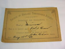 1890's  Member Certificate Church of England Temperance Society Antique   T*