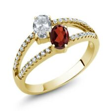 1.41 Ct Oval White Topaz Red Garnet Two Stone 18K Yellow Gold Plated Silver Ring