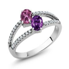 1.26 Ct Oval Pink Tourmaline Purple Amethyst Two Stone 925 Sterling Silver Ring
