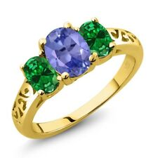 1.86 Ct Blue Tanzanite Simulated Emerald 18K Yellow Gold Plated Silver Ring