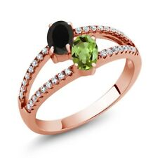 1.30 Ct Oval Black Onyx Green Peridot Two Stone 18K Rose Gold Plated Silver Ring
