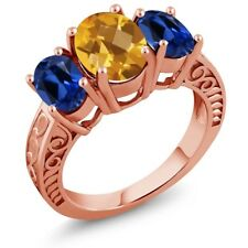 3.10 Ct Checkerboard Citrine Simulated Sapphire 18K Rose Gold Plated Silver Ring
