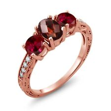 2.12 Ct Checkerboard Garnet Red Created Ruby 18K Rose Gold Plated Silver Ring