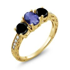 1.87 Ct Checkerboard Iolite and Black Diamond 18K Yellow Gold Plated Silver Ring