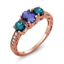 1.87 Ct Checkerboard Blue Iolite Blue Diamond 18K Rose Gold Plated Silver Ring