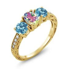 1.92 Ct Oval Mystic Topaz & Swiss Blue Topaz 18K Yellow Gold Plated Silver Ring