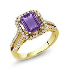 2.78 Ct Octagon Purple Amethyst 18K Yellow Gold Plated Silver Ring