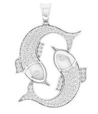 Pisces Zodiac Sign Pendant Necklace 1.00Ct Round Diamond 14Kt Solid Yellow Gold