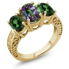 3.40 Ct Green Mystic Topaz Mystic Topaz 18K Yellow Gold Plated Silver Ring