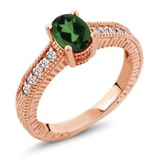 1.12 Ct Mystic Topaz and White Sapphire 18K Rose Gold Plated Silver Ring