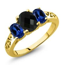2.12 Ct Oval Checkerboard Black Onyx Simulated Sapphire 18K Yellow Gold Ring