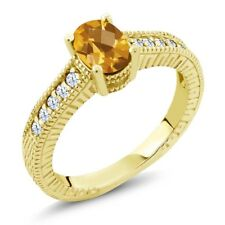 1.10 Ct Oval Checkerboard Citrine White Created Sapphire 14K Yellow Gold Ring