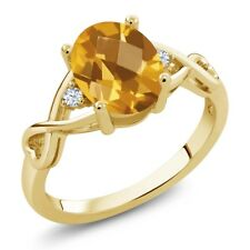 1.35 Ct Oval Checkerboard Citrine White Topaz 18K Yellow Gold Plated Silver Ring