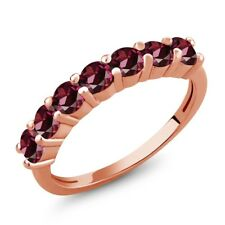 1.54 Ct Round Red Rhodolite Garnet 18K Rose Gold Plated Silver Ring