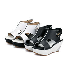 fashion faux lether womens heels sandals Shaped heel Wedge girl shoes 2016
