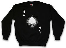 ACE OF SPADES SWEATSHIRT Poker Card Royal Pik Gamble Flush Casino Sweat Sweater
