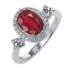 1.64 Ct Oval African Red Ruby White Diamond 925 Sterling Silver Ring