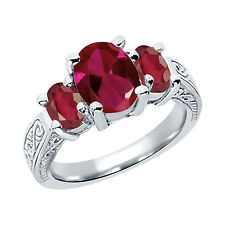 3.69 Ct Oval Red Created Ruby African Red Ruby 14K White Gold 3-Stone Ring