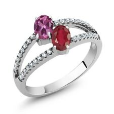 1.56 Ct Oval Pink Tourmaline African Red Ruby Two Stone 925 Sterling Silver Ring