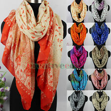 Fashion Women's Birds Trees Flowers Art Painting Ladies Long/Infinity Scarf New