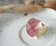 Crystal Dyed Faceted Pink Gemstone Gem Golden Adjustable Ring