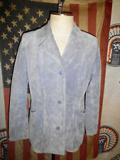 Womens Dialogue Blue Suede Leather Jacket MED satin lined 3 button coat blazer