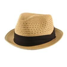 Men's Cool Summer Straw Vented Derby Fedora Upturn Brim Hat