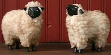 New Primitive Country Folk Art 2 Grungy WOOLY RESIN SHEEP Figurine Shelf Sitter