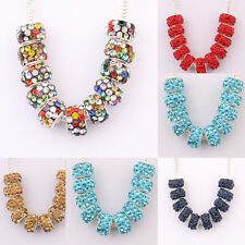 Hot 5/10Pcs Alloy Rhinestone Czech Big Hole Loose Spacer Beads Accessory 11x7mm