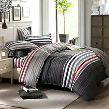 NEW Striped 100% Cotton Quilt Doona Duvet Cover Set Queen Bed Size Pillowcase