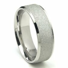 8MM Stainless Steel Sparkle Finish Beveled Men's Wedding Band Ring