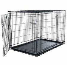 Dog Crate 2 Door Folding Kennel Metal Cage Divider Pen Tray Animal House Pet