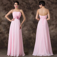 Beaded Long Chiffon Bridesmaids Wedding Ball Gown Evening Cocktail Party Dresses