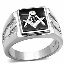 Men's Stainless Steel Tusk 316 Crystal Masonic Lodge Freemason Ring Band