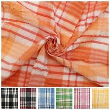 """SEERSUCKER 100% COTTON CHECKED QUALITY NON IRON TABLE CLOTH COVERING 65"""" ROUND"""